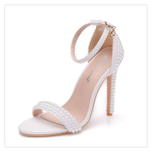 Bride Wedding Shoes Fashion Shoes for Woman Ankle Strap Party Dress Shoes Open Toe High Heels Pumps Female Sandals White 40 (Pe Lyrics)
