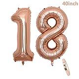 """cholinchin 2 Numero di Palloncini 18,Numero 18 Compleanno Decorazione Oro Rosa Ragazza,40"""" Palloncino a Foglio di Elio Gonfiabile,Happy Birthday Party Palloncino Gigante Prom Festa Party(XXXL 100cm)"""