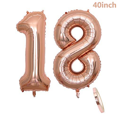 2 Luftballons Zahl 18,Nummer 18 Geburtstags Dekoration Rosegold Mädchen, 40