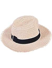 Fuxitoggo Sombrero de Sol de Domo para Mujer Sombrero de Paja de ala Ancha  Sombrero de 457b11e5c68
