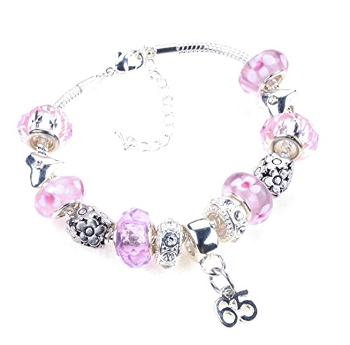 6be11571d 65th Birthday Pink Garland Themed Murano Charm Bracelet in a Luxury  Jewellery Box with a 65th Birthday Card