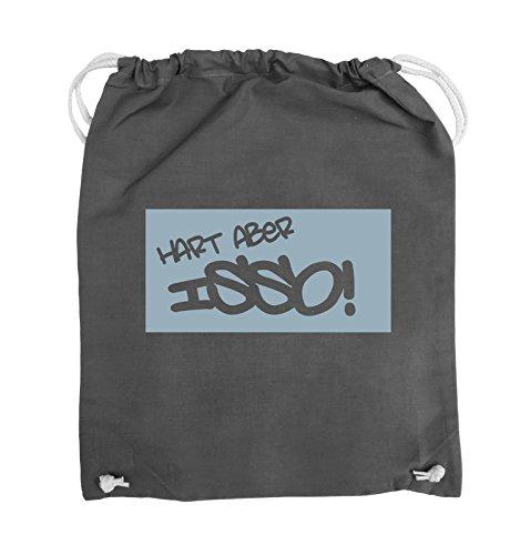 Comedy Bags - HART ABER ISSO! - Turnbeutel - 37x46cm - Farbe: Schwarz / Silber Dunkelgrau / Eisblau