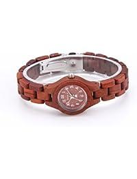 BS ® reloj de pulsera de madera hecho a mano Movimiento de cuarzo japonés hecho con madera de sándalo rojo natural BNS-120A