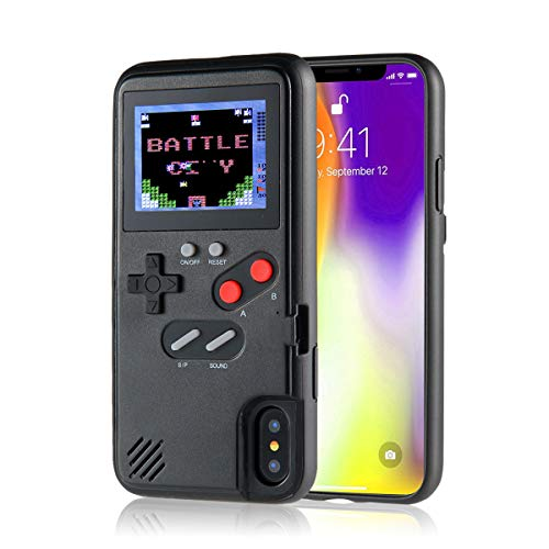 KOBWA Gameboy Case für iPhone, Retro 3D Gameboy Design Style Silikonhülle mit 36 Kleinen Spielen, Farbbildschirm, Videospiel-Cover für iPhone X/MAX, IPhone8 / 8 Plus, iPhone 7/7 Plus, iPhone 6/6 Plus