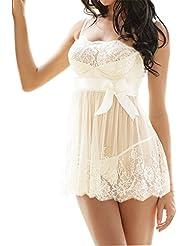 RZS Lingerie en Dentelle Robe Sexy Transparente Avec noeud de Fleur Nuisettes fine à Pyjamas Blancs Bretelle Décoré aux Seins Avec un G- String