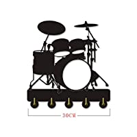 AUUNY Unique design musical instrument drum kit silhouette hook/wall door installation clothes coat hat key hook/coat rack/wall hook modern home decoration wall stickers,Black(Long:30cm)
