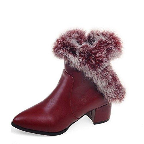 VogueZone009 Damen Niedrig-Spitze Mittler Absatz Gemischte Farbe PU Leder Stiefel, Pink, 40