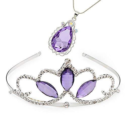 VINJEWELRY Halskette mit Anhänger Prinzessin Krone Sofia die erste Tiara und Magisches Amulett & Prinzessin Wassertropfen für Mädchen, Perfekter Geburtstag