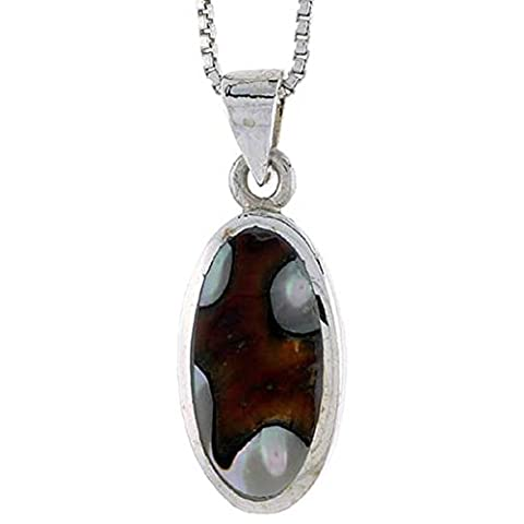 Revoni Sterling Silver Oval Shell Pendant, w/ Colorful Mother of Pearl inlay, 7/8