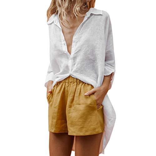 UJUNAOR Casual Damen Volltonfarbe V-Ausschnitt Shirt Baumwolle Leinen Shirt Ernte Tops Bluse(X-Large,Weiß)