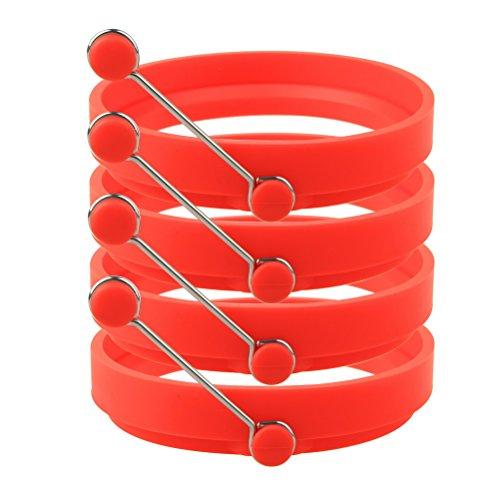 Sicai Ei Ring 4 Pack Antihaft Silikon Ei Ringe Pfannkuchenform Runde Kochen Form rot