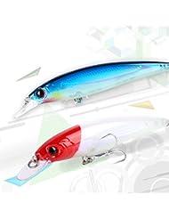 MK 11cm 14g dur Appât flottant Minnow Leurre de pêche/Ensemble de matériel de pêche Japon Sharp hameçon Triple d'eau douce à l'eau salée Pêche basse truite