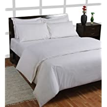 Homescapes Juego de Funda Nórdica y 2 fundas de almohada color Blanco de alta calidad 100% Algodon Egipcio de 220 x 260 cm y 50 x 75 cm