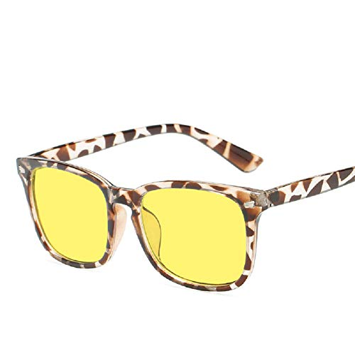 AudeRhine Blue Light Blocking Glasses, Universal Reis Nagel Rahmen Anti Blue Ray Computerspiel Schutzbrille (Leopard Frame,Yellow Lens)