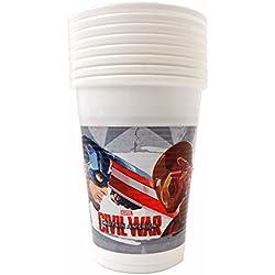 200ml Capitán América Guerra Civil vasos de plástico, 8unidades)