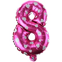 PICCOLI MONELLI Palloncino Numero 8 Bambina Primo Compleanno 1 pz 35 cm Compatibile a Aria o Elio Colore Fuxia con Cuoricini