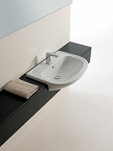 Lavandino lavabo semi incasso modello apollo 66x49 cm in ceramica bianco