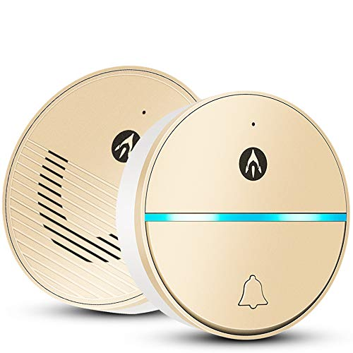 Kimmyer KabelWireless Doorbell Smart Wireless-Mobile Remote Intercom Home-Remote Access Control Pager Power Off Memory Remote Receiving App Control,Gold Voice Pager