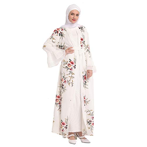 friendGG Muslimische Kleidung Damen Langarm Spitze Pailletten Strickjacke Maxi Kleid Kimono Open Abaya Robe Kaftan Dubai Sommer Digitaldruck Bestickte Schwarz Mspitze Gestickte Lose