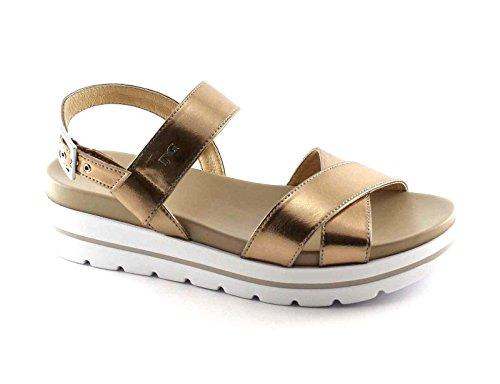 NERO GIARDINI 17801 laminato oro scarpe donna sandali pelle fibbia platform Metalizzato