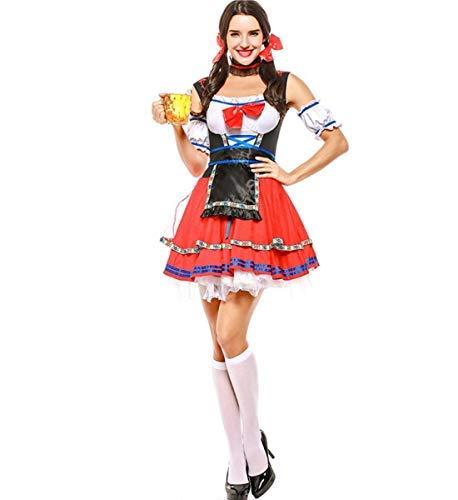 Kostüm Damen Mädchen Bier - LOBTY Dirndl Set 3 Teilig Damen Oktoberfest KostüM Bayerisch Bier MäDchen Dirndl Taverne Maid Kleid Stilvoll Frau Cosplay Trachtenkleid Maid Kostüm