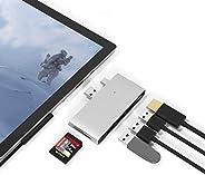 Surface Pro 5/Pro 6 Docking Station USB Hub USB 3.0x3 Hub Adapter, SD & TF/Micro SD Memory Card Reader, 4K