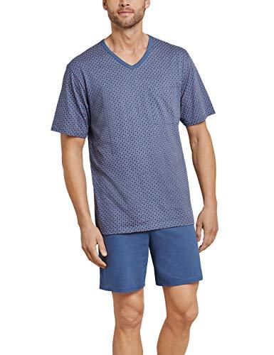 Schiesser Herren Essentials Anzug Kurz Zweiteiliger Schlafanzug, Blau (Indigo 824), XX-Large (Herstellergröße: 056)