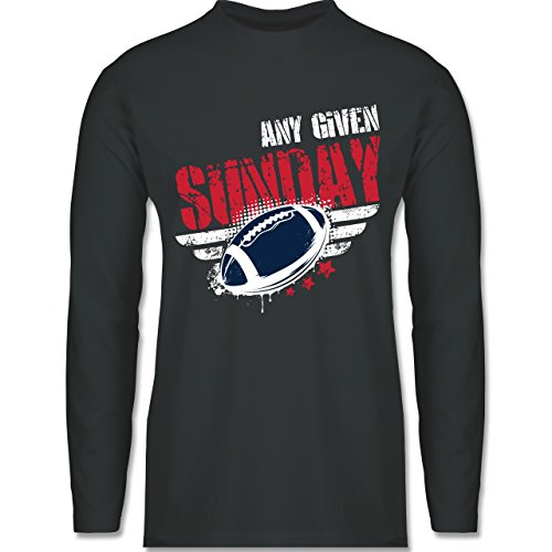 Shirtracer American Football - any Given Sunday Football New England - Herren Langarmshirt Dunkelgrau