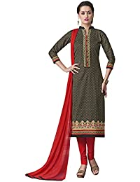 Kvsfab Women's Cotton Readymade Salwar Suit Straight Cut Style, Green