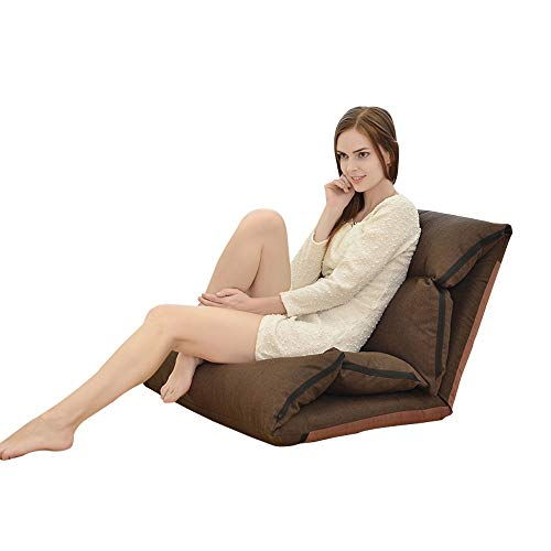 Tragbare Faule Freizeit Schlafsofa Faltbare Chaise Lounge Sofa Boden Stuhl Single Home Schlafzimmer Einstellbare Rückenlehne Sitzkissen 5 Farbe (Color : Brown) (Chaise Lounge-sofa-bett)