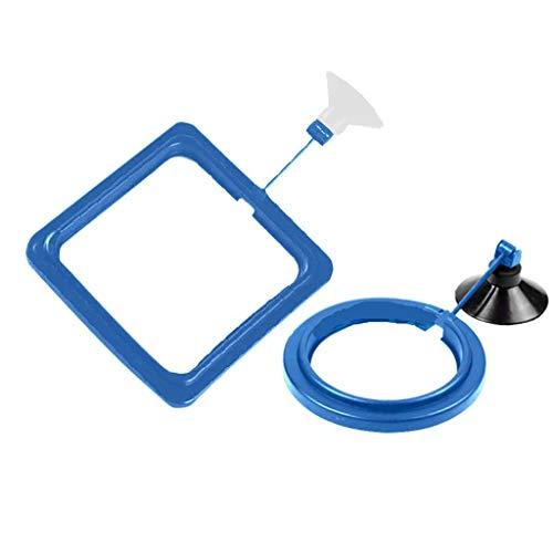 YA-Uzeun Futterring für Aquarium, schwimmend, mit Schwimmer und Ring, quadratisch blau -