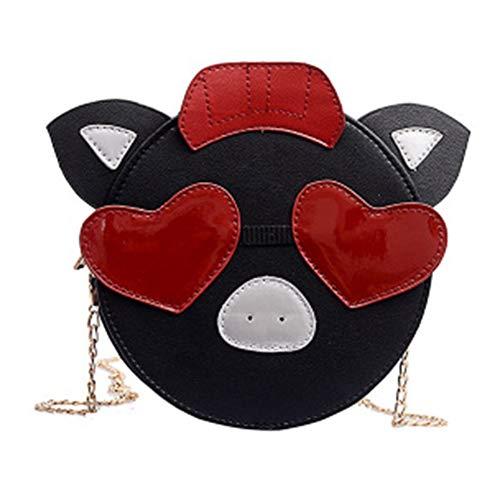 Frauen Messenger Bag Runde PU Leder wasserdicht tragbare weiche Oberfläche Kette kreative niedliche Schwein Umhängetasche Tote,Black