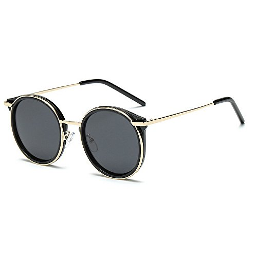 Y-WEIFENG Persönlichkeit Frauen polarisierte Sonnenbrille Katzenaugen runde Form metallrahmen uv-Schutz Fahren Reisende Sonnenbrille für alle Gesicht (Farbe : Schwarz)