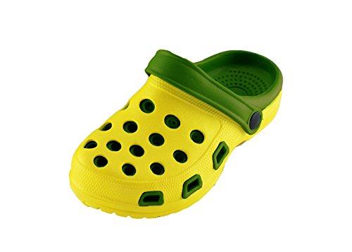 Kinder Clogs Hausschuh Jungen Mädchen Schuhe Pantolette mit rutschfester Sohle - Farbe: Gelb/Grün- Größe: 33