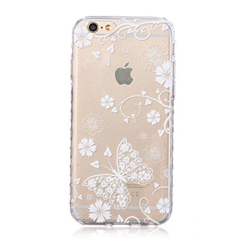 Pheant® [4 in 1] Apple iPhone 6/6S(4.7 pouces) Coque Gel Étui Housse de Protection Transparent Cas avec Verre Trempé Protecteur d'écran Stylet Bouchon Anti-poussière(Papillon) Papillon Blanc