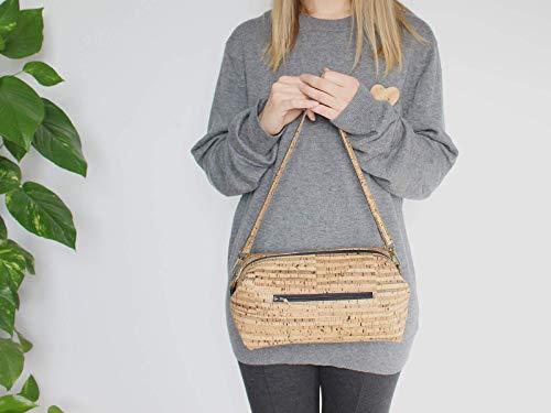 Kork Handtasche, Umhängetasche, vegan, schwarze Schultertasche, Geschenk, - 6