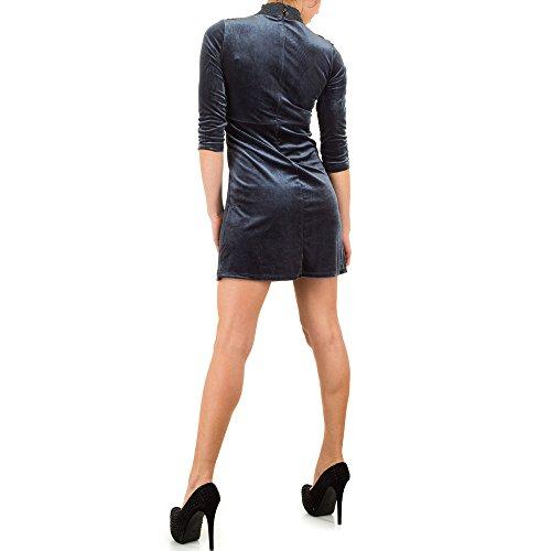 Damen Kleid, SAMT LOOK SPITZEN COCKTAIL MINIKLEID , KL-J085 Grau