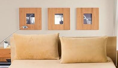 "Linenwalas Waterproof and Dustproof Solid 2 Piece Terrycloth Pillow Protector Set - 17""x27"", Beige"