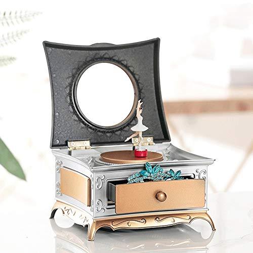 European Musical Jewelry Box for Mädchen Klassische Ballerina-Spieluhr Kinder Schmuckschatullen Kunststoff Trinket-Aufbewahrungsbehälter mit Schublade for Kinder kleinen Mädchens Geschenke - Gold