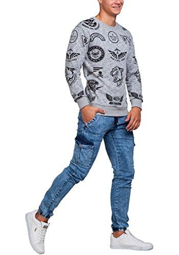 BOLF Herren Sweatshirt Pulli Langarmshirt Rundhals Classic ATHLETIC 0594 Grau_1717