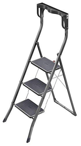 Hailo Safety Plus, Stahl-Klapptritt, 3 Stufen, hoher Sicherheitshaltebügel, Ablageschale, Klappsicherung, belastbar bis 150 kg, 4343-071