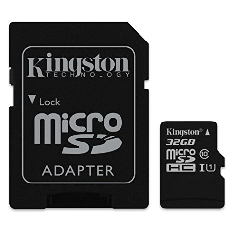 Kingston SDC10/32GB - Tarjeta microSD de 32 GB (clase 10, UHS-I, adaptador SD), negro