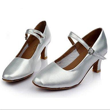 Moda Donna Sandali Sexy donna tacchi Primavera / Autunno punta chiusa in pelle / outdoor casual Stiletto Heel Lace-up nero / argento / Oro Altri Silver