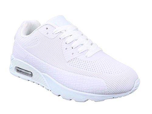 King Of Shoes Trendige Damen Schnür Sneakers Laufschuhe Sport Fitness Freizeit Turnschuhe D9 Weiß