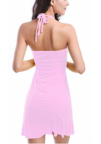 Femme Col Rond Couleur Unie Robe De Plage Bikini Cover Up Maillot De Bain Robe pink