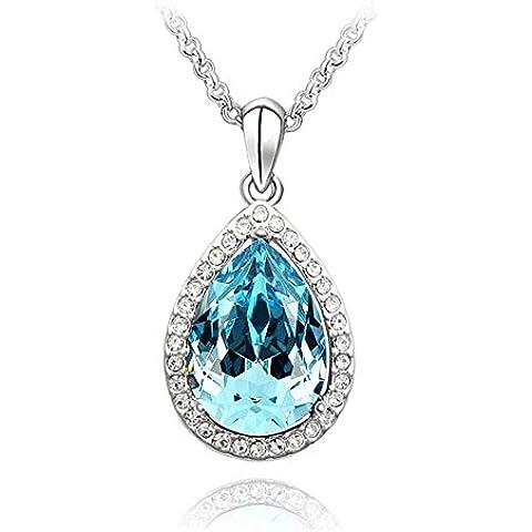 Elementi dello zaffiro della collana del pendente blu Swarovski Crystal Teardrop della CZ Diamante Charm argento