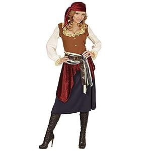 WIDMANN 04063?Adultos Disfraz piratin, Vestido, Banda, Toalla de Cabeza, Color Negro, tamaño L