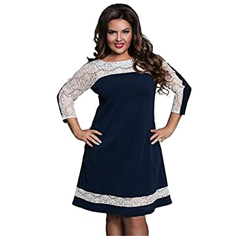 DD UP Women's Plus Size Classic Round Neck 3/4 Sleeves