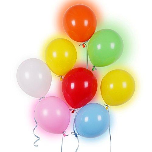 40 LED leuchtende bunte Luftballons mit farbigem Band, 24 Stunden Leuchtdauer, für Party, Geburtstag, Hochzeit, Festival, Weihnachten, von AGPTEK Q01, 7 Farben