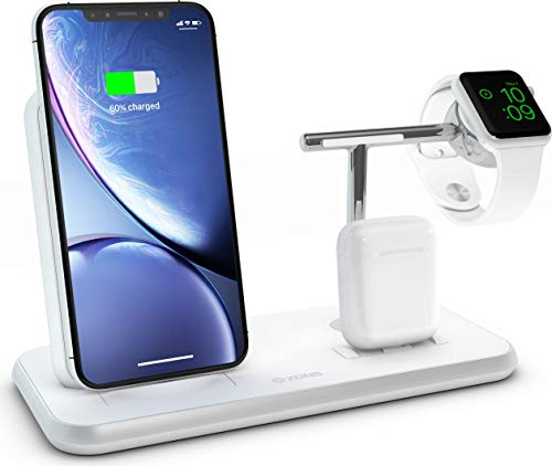 ZENS Qi & MFi certificato Stand+Dock+Watch Aluminium Wireless Charger Nero, Fast Charge per Apple iPhone 8/8 Plus/X/Xr/Xs/Xs Max - Per Apple Watch, Apple AirPods 1/2 e tutti i telefoni Qi-capab